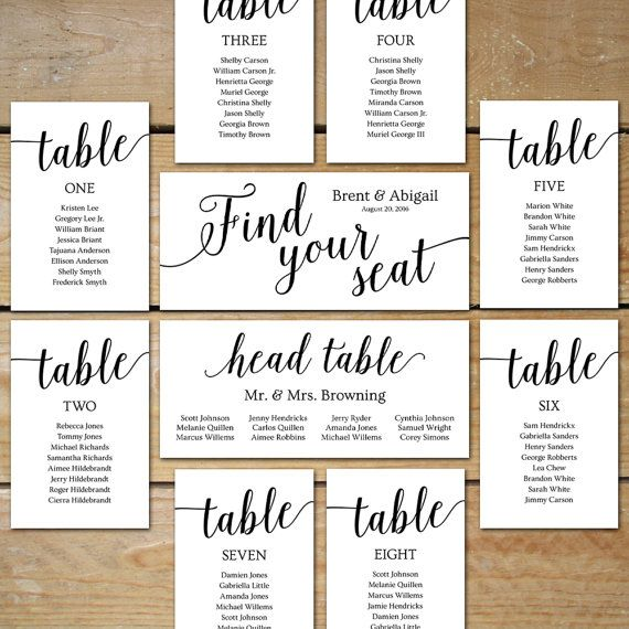 Printable Seating Chart Wedding Seating Chart Cards   Editable