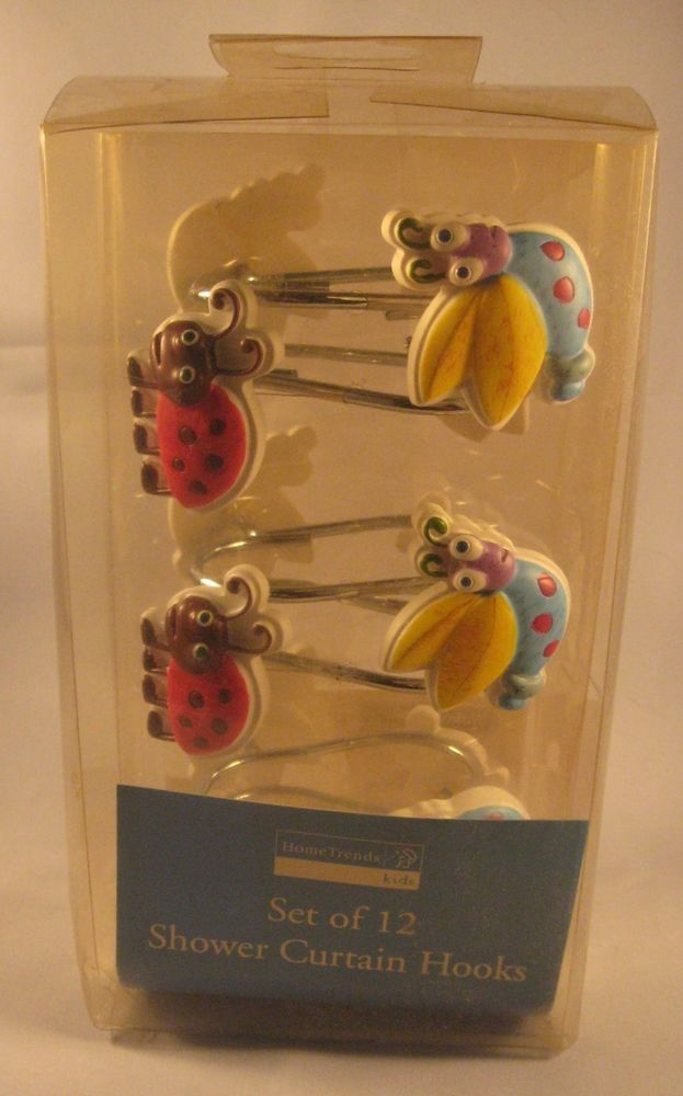 Home Trends Lady Bug, Fire Fly Shower Curtain Hooks Bathroom Rings ...