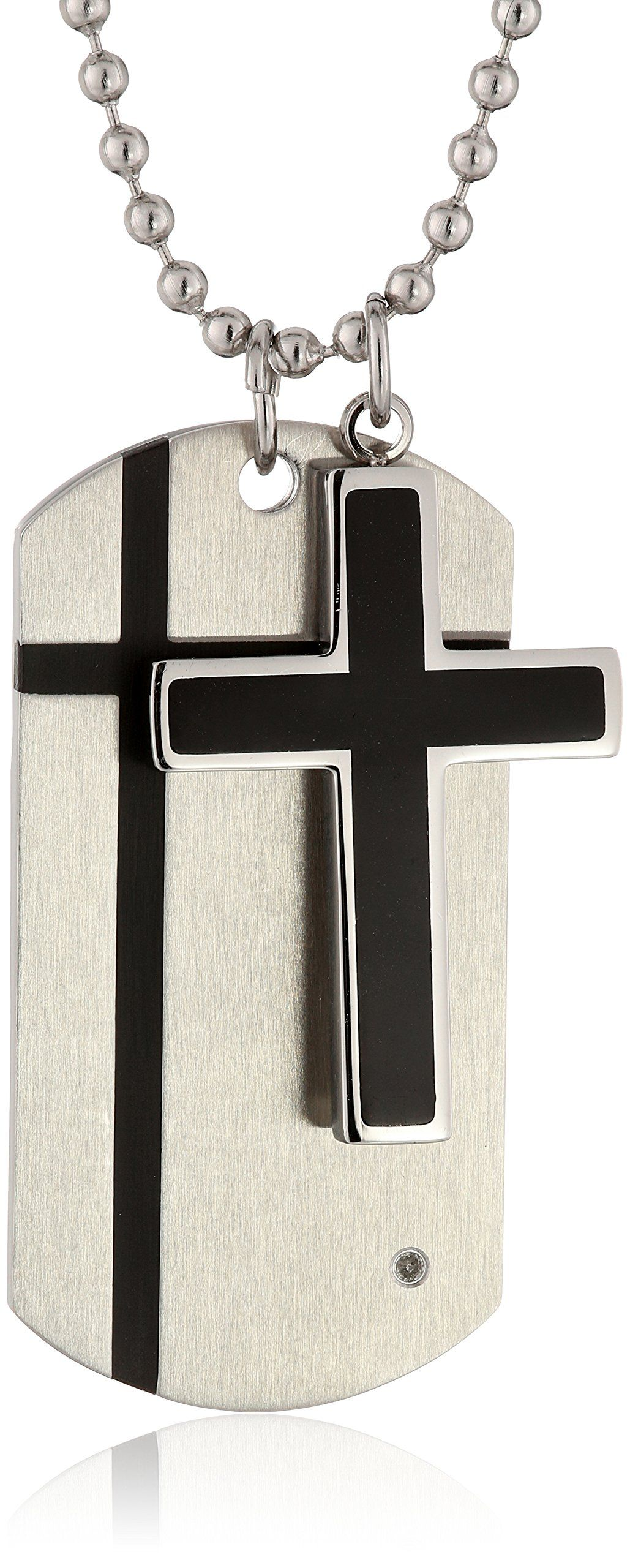 Cold Steel Stainless Steel Black Immersion Plate Cross and 0.01Ct Diamond Dog Tag Men's Pendant Necklace. Stainless steel is hypoallergenic & does not tarnish- accent brown immersion plate. Imported.