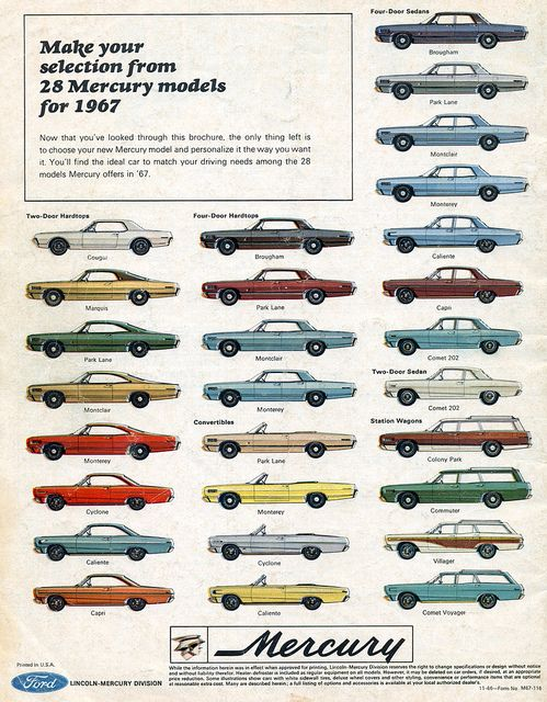Vintage Advertising. 1967 Mercury Range  by colour. By coconv, via Flickr.