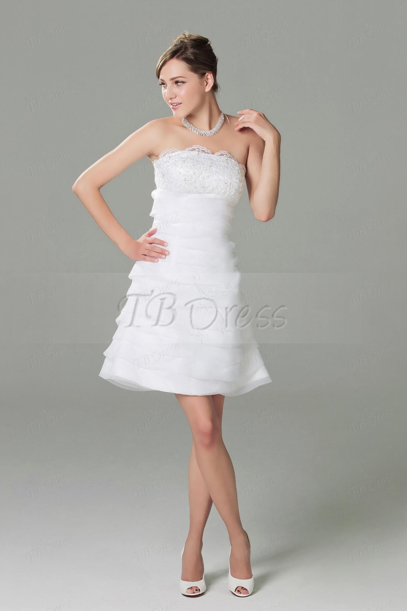 Mini white wedding dress  SheathColumn Strapless Neckline Knee Length Tiered Dariaus Beach