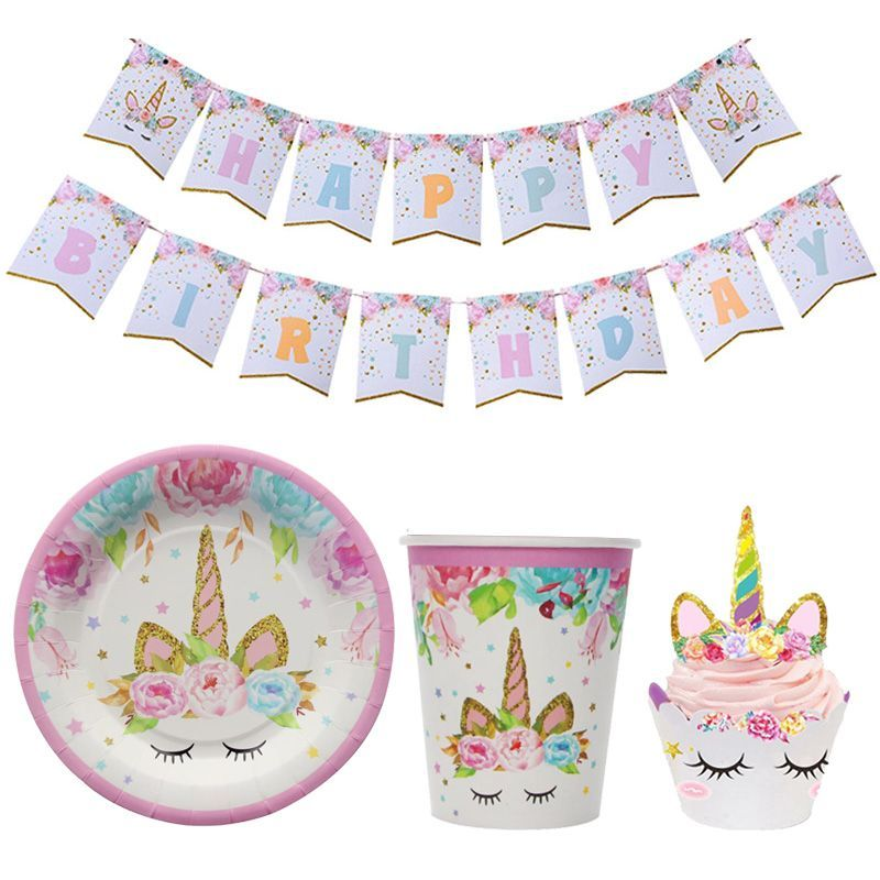 Buy Unicorn Party Happy Birthday Paper Banners Paper Cups Plate