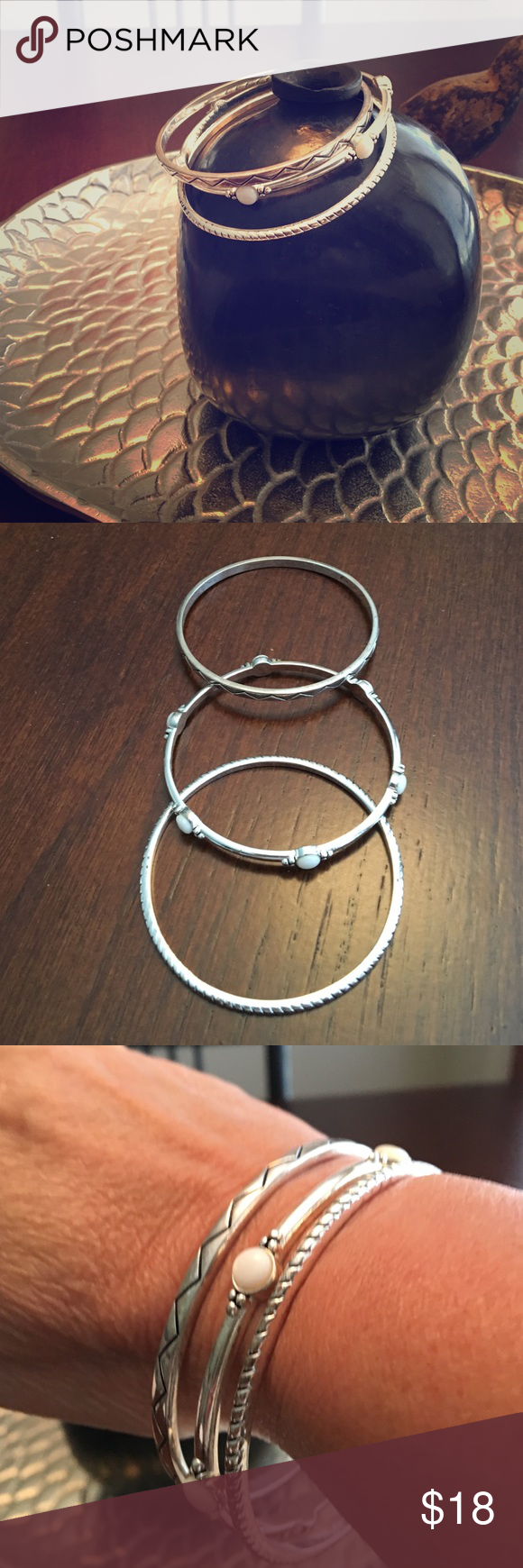 """🕶 """". Premier """"set of 3 Bracelets  🕶 These cute bracelets are from Premier designs.white stones on middle bracelet. Gently used. Not sterling silver. Silver plated .. Premier Designs Jewelry Bracelets"""