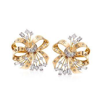 C 1950 Vintage 3 65 ct t w Diamond Bow Earrings in 14kt Two