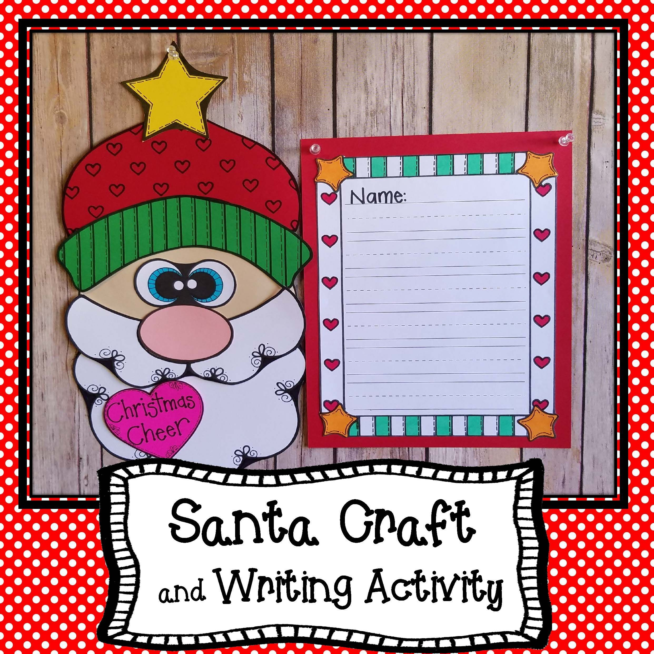 Santa Writing And Craft Project December Writing And