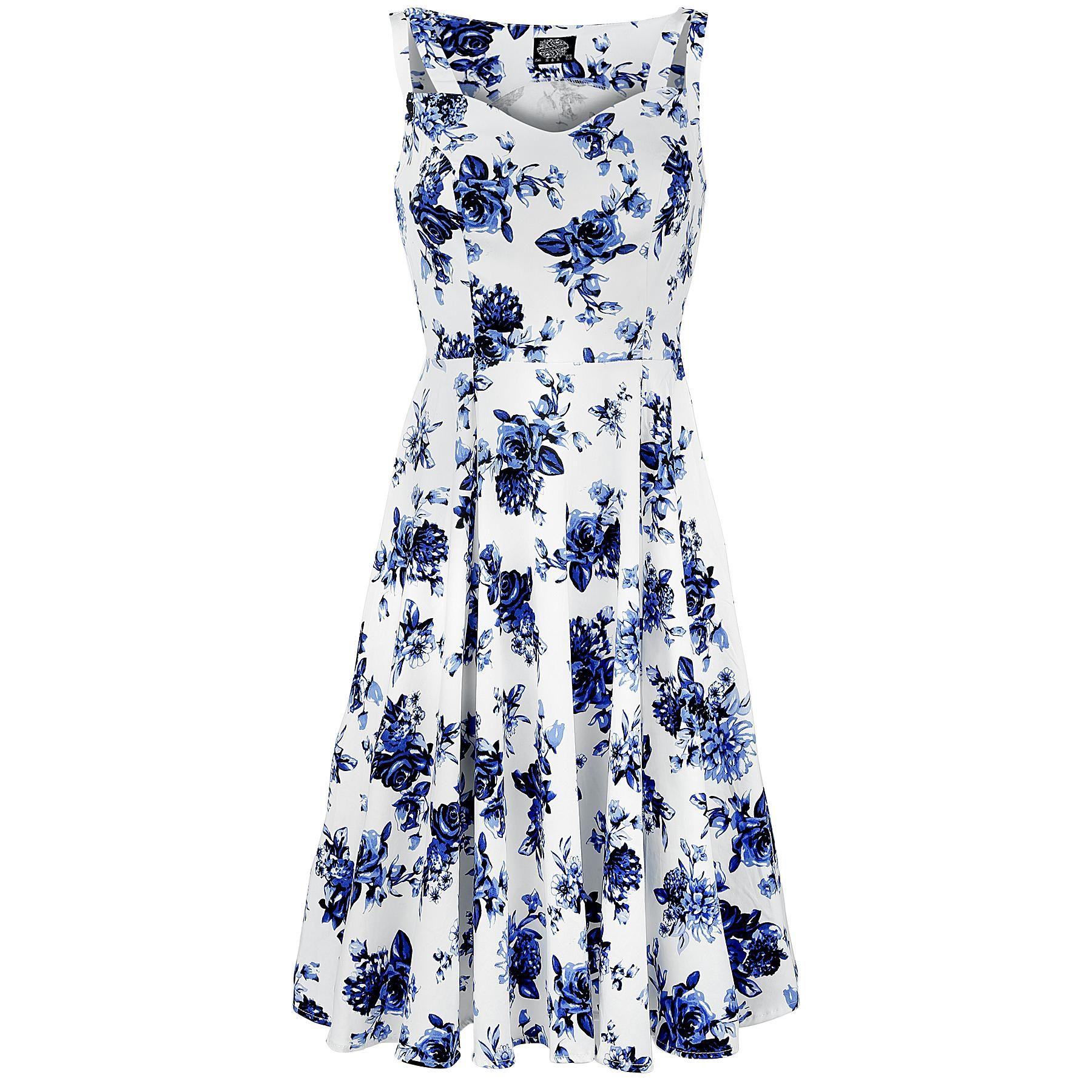 Blue Rosaceae Swing Dress - Medium-lengte jurk van H&R London