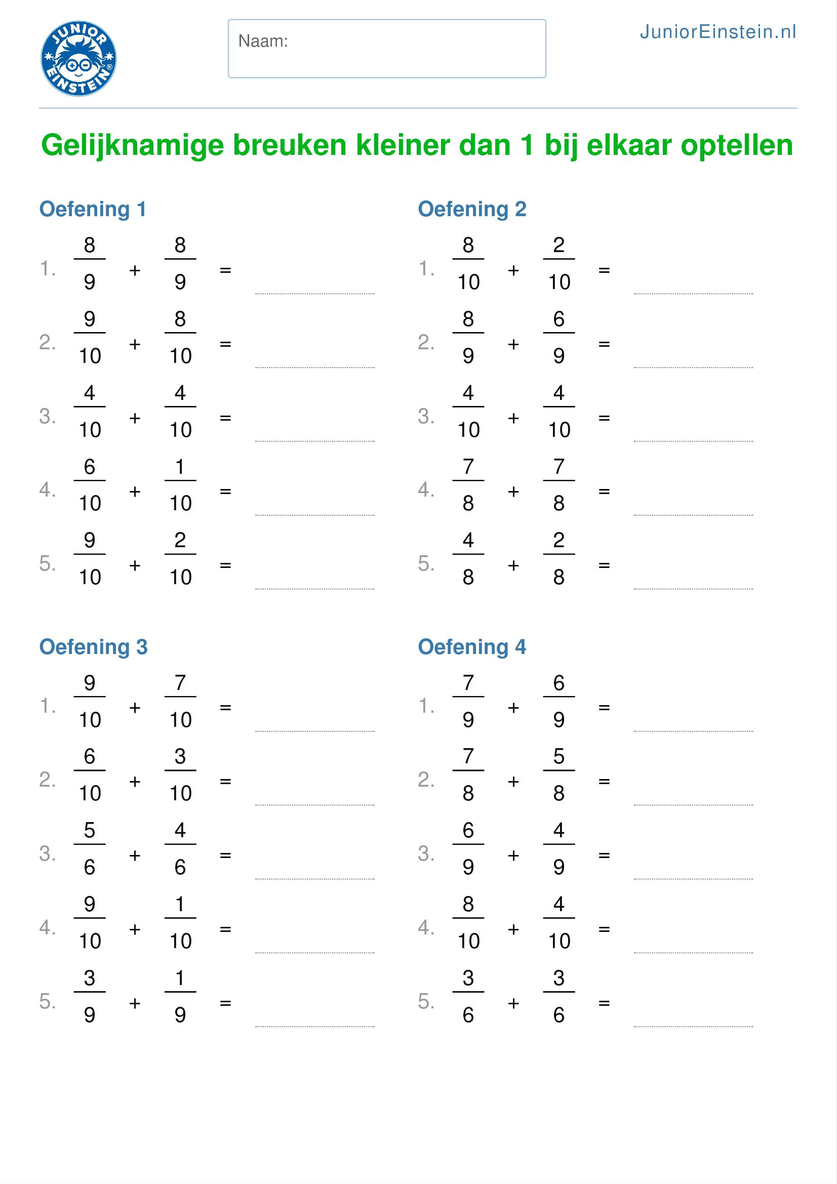Genoeg Werkblad: Gelijknamige breuken kleiner dan 1 bij elkaar optellen &JM58