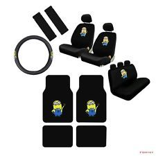 New Despicable Me Minions Car Seat Covers Floor Mats Steering Wheel Cover Set