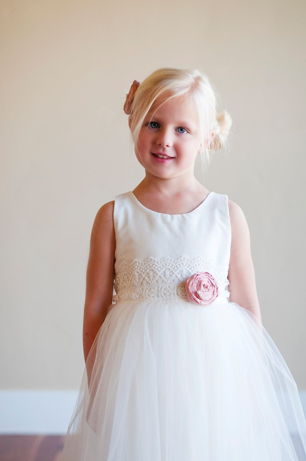 Flower Girl Dresses In Ivory Or White With Lace Sash Lace Flower