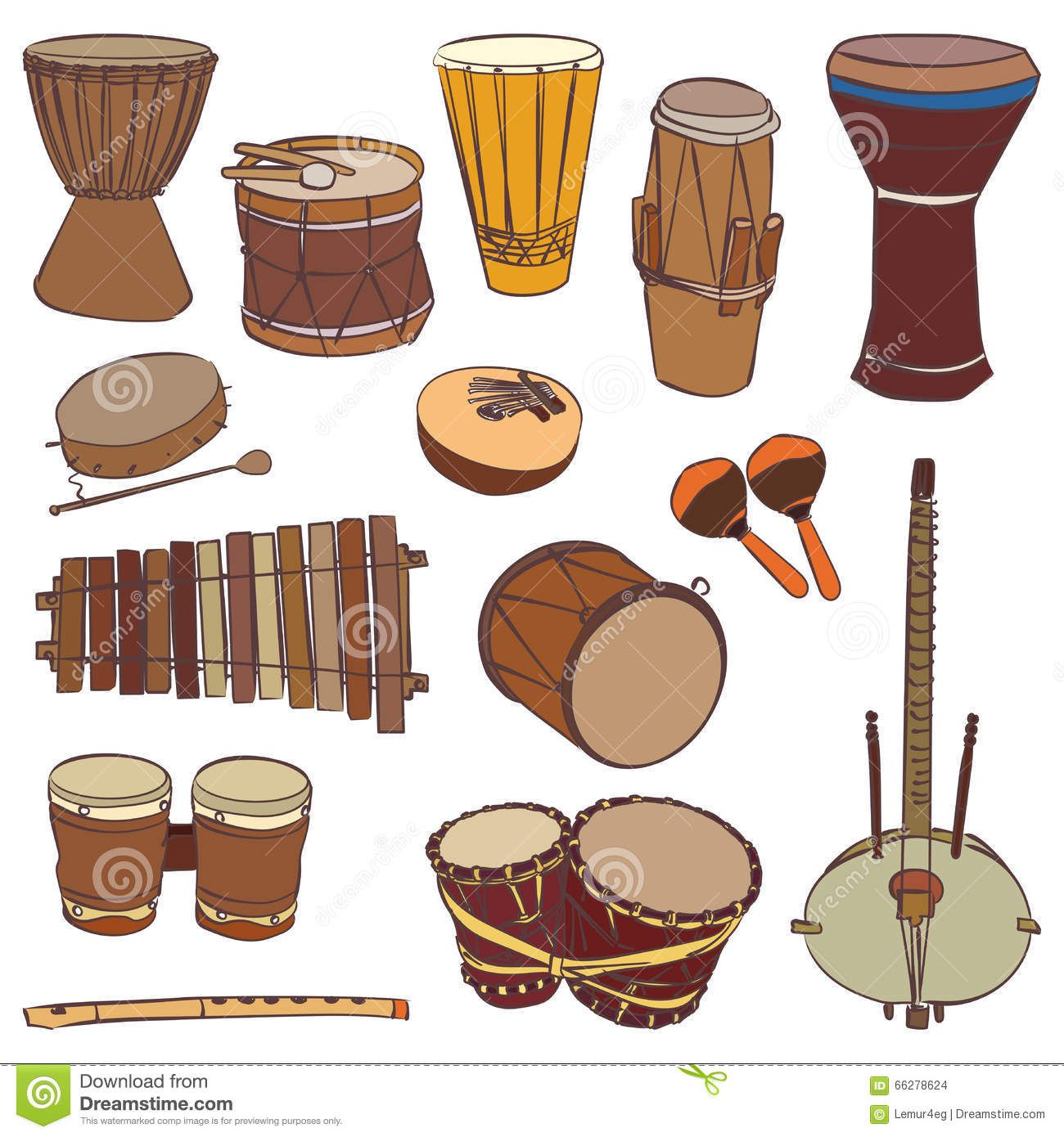 african-traditional-musical-instruments-vector-contour-set ...