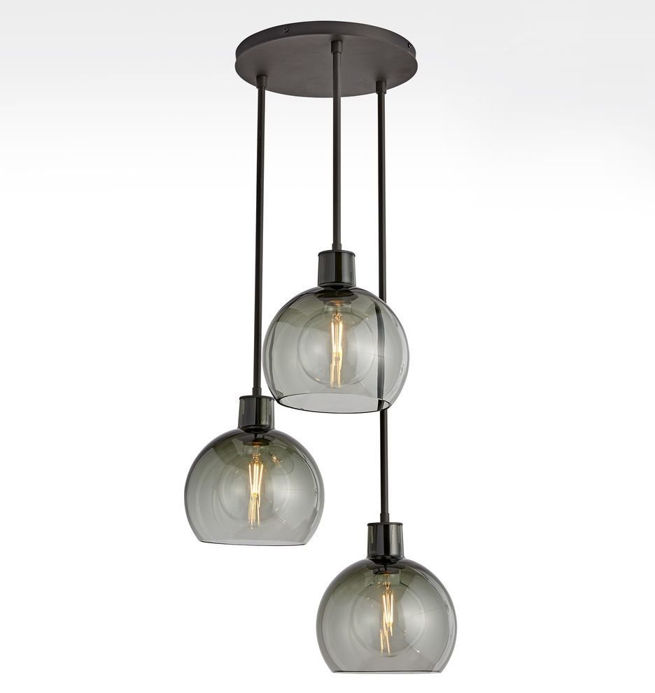 Edendale 9 Smoke Glass 3 Light Pendant Rejuvenation 3 Light Pendant Smoked Glass Pendant Lighting