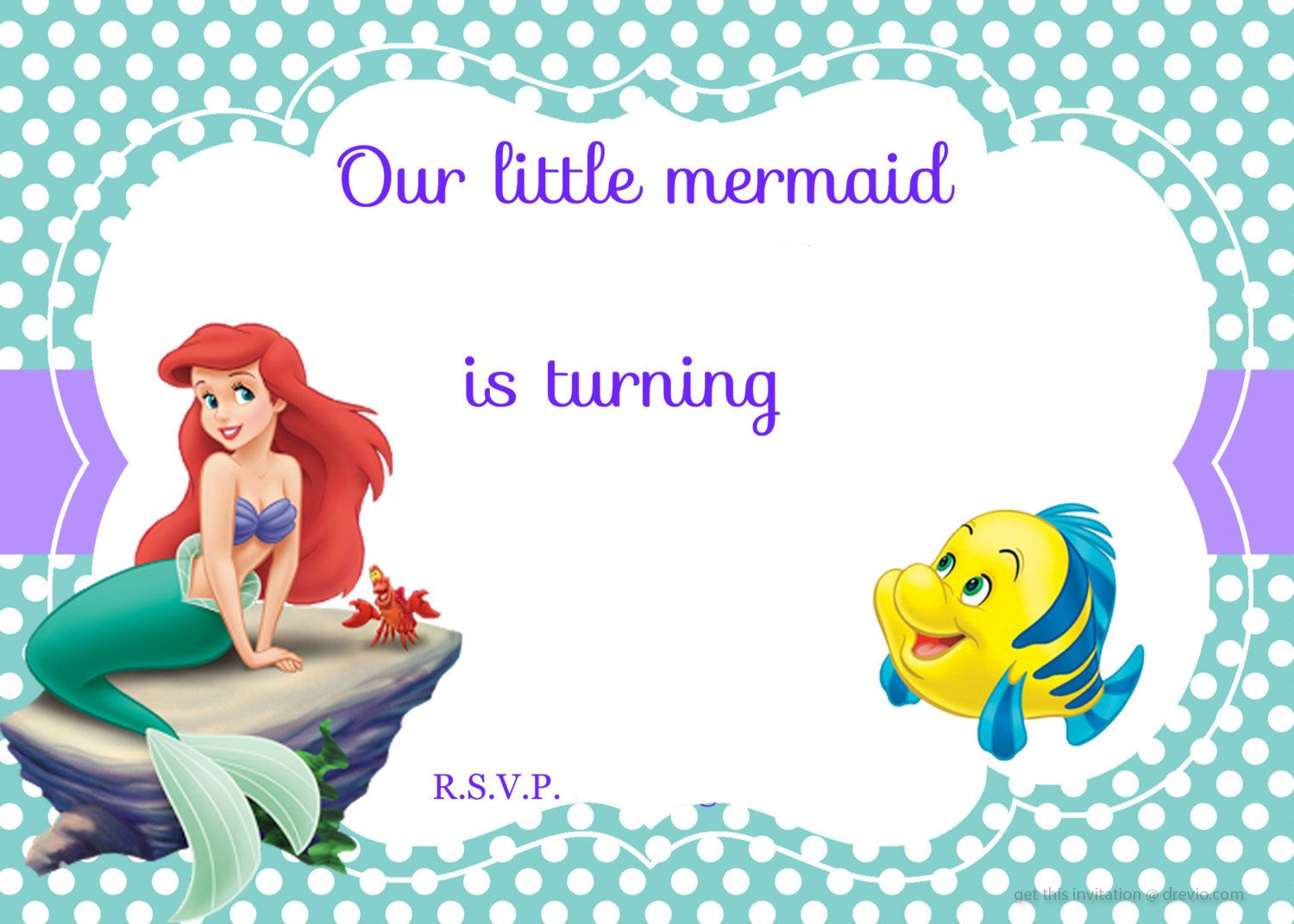 Updated! Free Printable Ariel the Little Mermaid Invitation Template ...