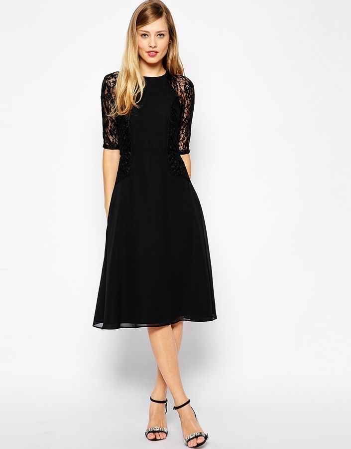 4c2319a58b ASOS Midi Skater Dress with Lace Panels