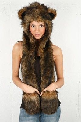 2a128d6eb08 New Brown Grizzly Bear Animal Hood 3 in 1 Scarves and Paws Rave Burning Man