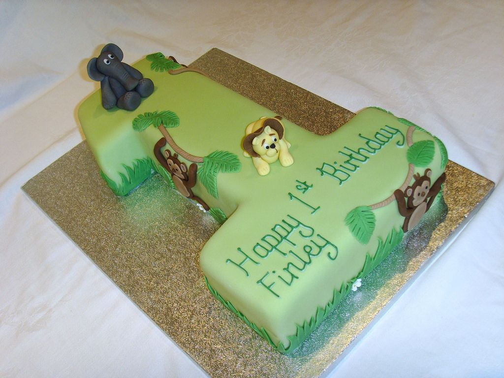 Jungle Themed Number One Cake Cake Number cakes and Birthday cakes