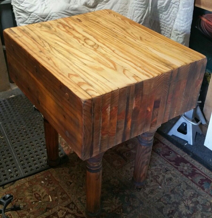 Maple Wood Wooden Butcher Block Table Island 26 X30 X 35 Tall Vintage Decor