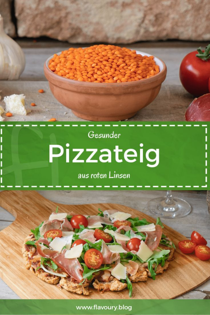 Gesunder Pizzateig aus roten Linsen // glutenfreies Rezept #veganerezeptemittag