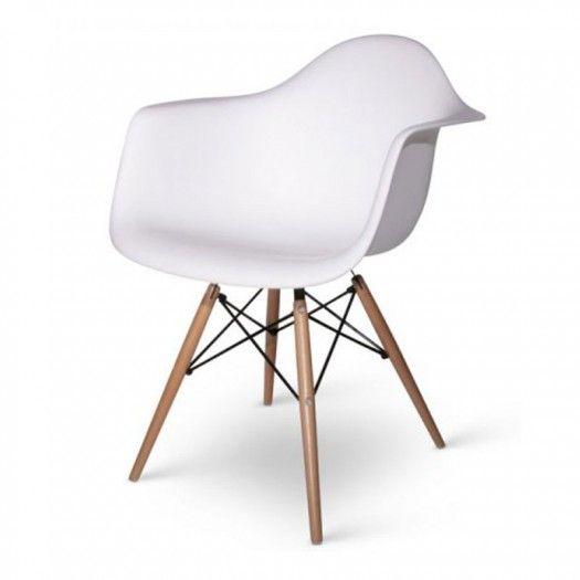 Fauteuil Design Daw Coloris Blanc White Pieds En Bois Projet - Fauteuil design charles eames