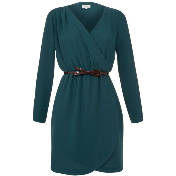 Hoss Intropia Long Sleeve Wrap Belted Dress, Petroleum (£46) ❤ liked on Polyvore featuring dresses, merida, long sleeve short dress, summer dresses, short sleeve dress, short dresses and long blue dress