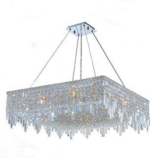 Shop for Glam Art Deco Style Collection 12 Light Chrome Finish Crystal Square Flush Mount Chandelier 32