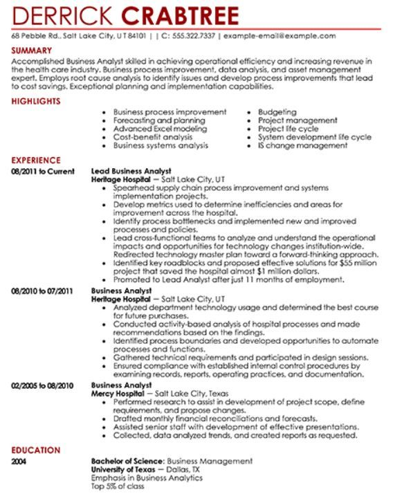 Chartered Accountant Resume Resume Examples Pinterest - example of business analyst resume