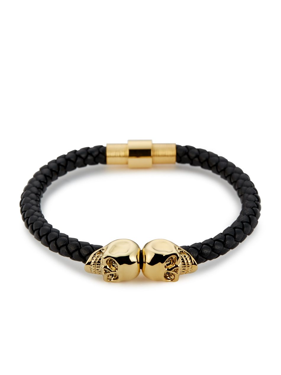 Black Leather Mens Bracelet, Mens Twin Skull Bracelet