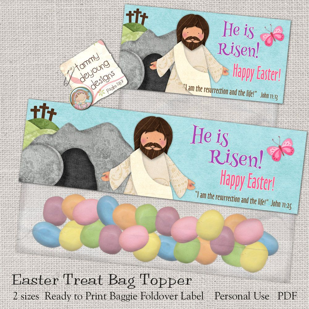 Christian easter treat bag toppers printable he is risen jesus christian easter treat bag toppers printable he is risen jesus easter basket tag religious party favor for sunday school easter label by songinmyheart on negle Images
