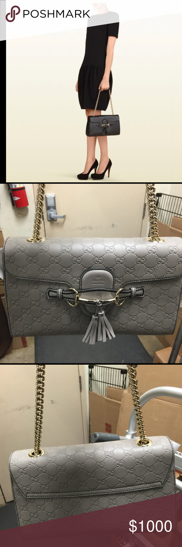 6c4dd3432e0 Gucci Emily Guccissima Leather Flap handbag Gucci Emily Leather Flap  Shoulder Handbag in Storm Grey.. bag has never been carried includes  original tag dust ...