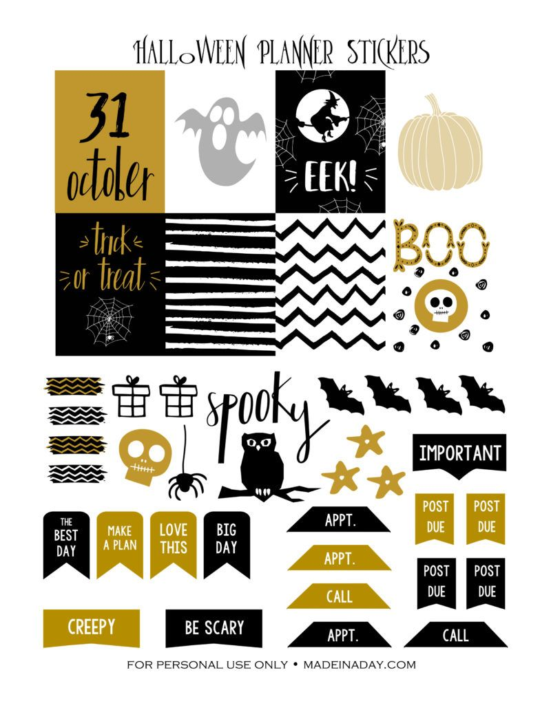 image about Halloween Stickers Printable known as Oct Halloween Printable Planner Stickers Pleased planner