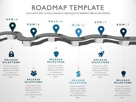 six phase strategic product timeline roadmap presentation diagram infographic design