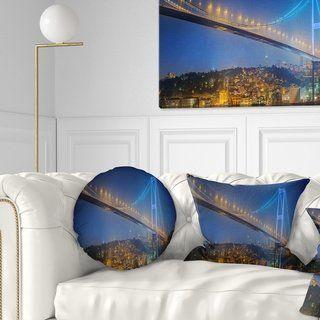 Designart 'Bosphorus Bridge at Night Istanbul' Landscape Printed Throw Pillow (Rectangle - 12 in. x 20 in. - Medium), Multicolor, DESIGN ART(Polyester