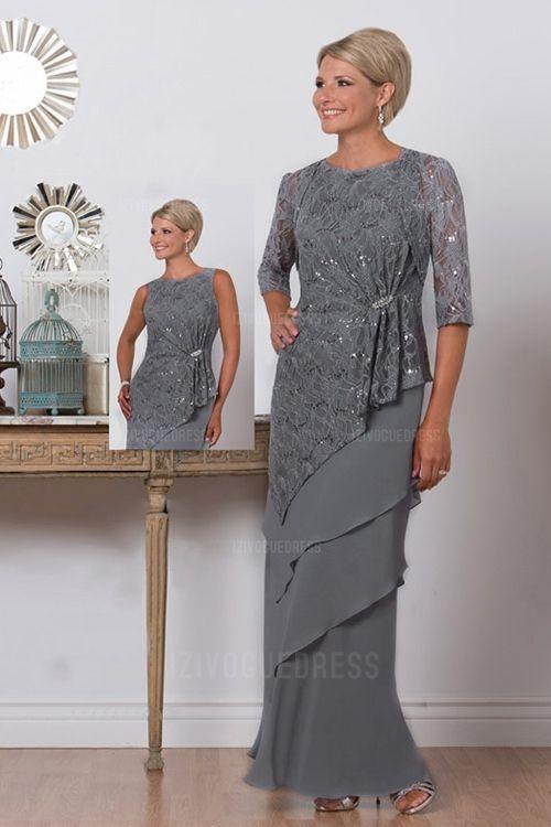 Sheath Column Jewel Floor-length Chiffon Mother of the Bride Dress ... 71c2c53d47