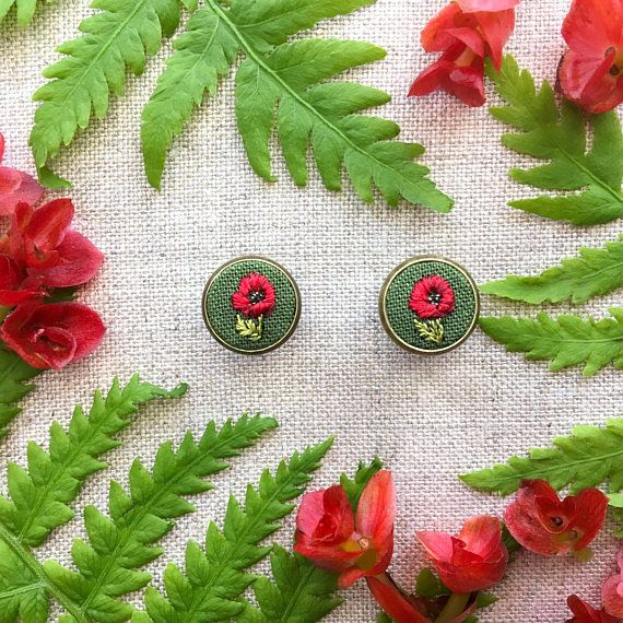 Red poppy hand embroidered earrings august birth flower red poppy hand embroidered earrings august birth flower miniature silk embroidery mightylinksfo Gallery