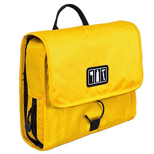BAGSMART Hanging Travel Toiletry Bag Cosmetic Carryon Case Folding Makeup Organizer with Breathable Mesh Pockets Yellow * Visit the image link more details.