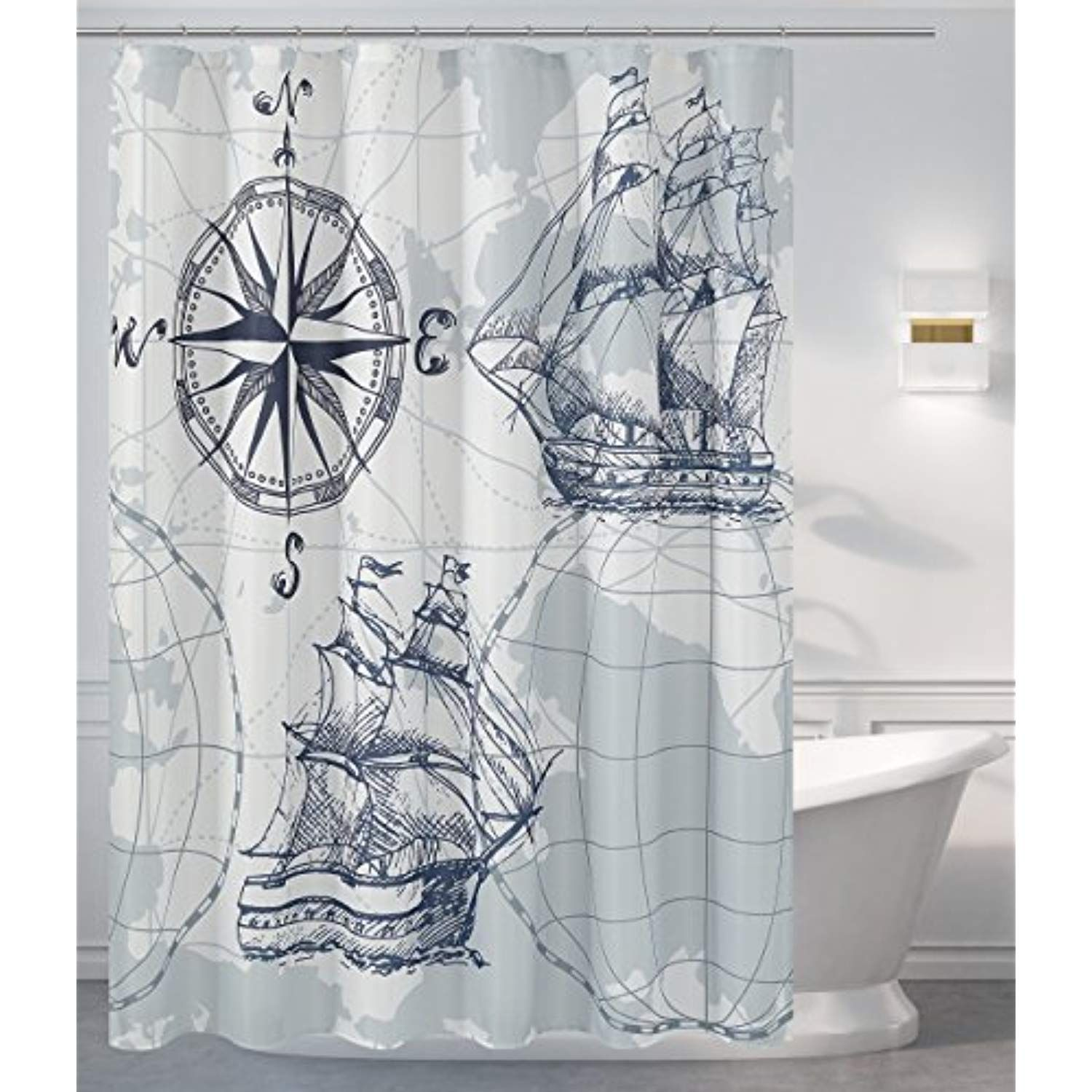 Mrs Awesome Water Repellent Fabric Nautical Theme Shower Curtain
