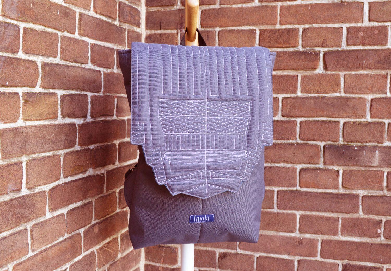 Backpack unisex waterproof water resistant cordura gray hipster backpack rucksack cycling bag everyday large backpack Zurichtoren geometric (95.00 USD) by imolabynoemiimola