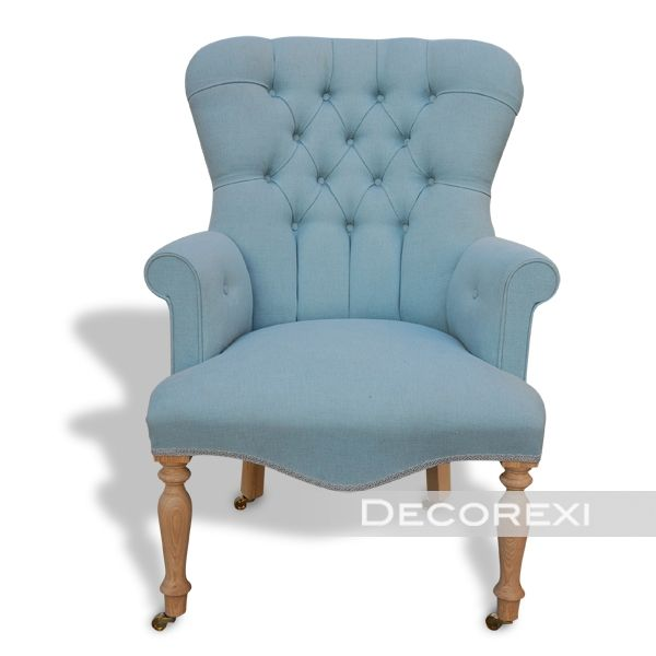 Light Blue Linen Chair