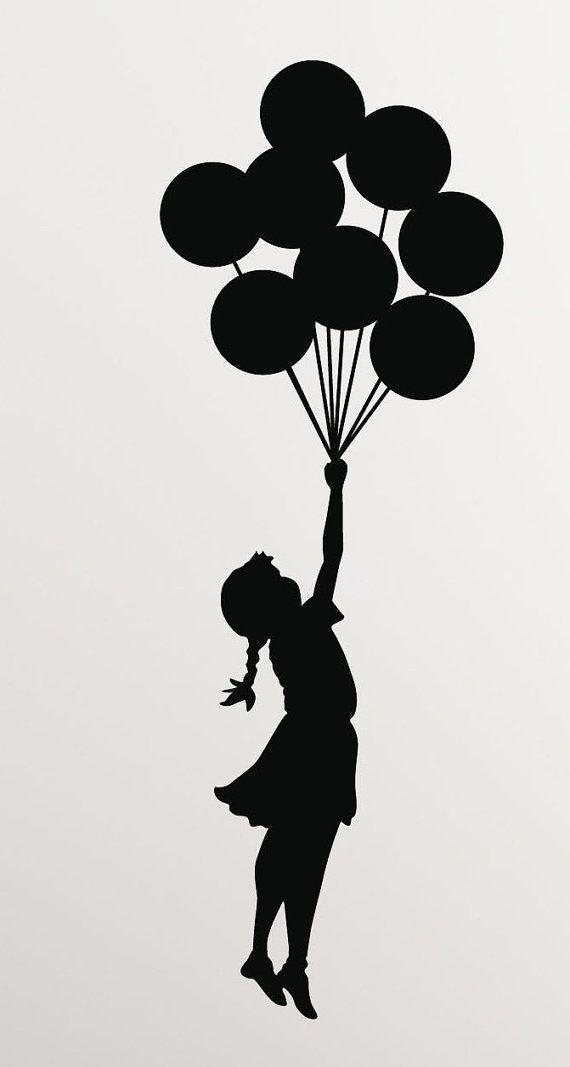 Banksy Girl Balloons Vinyl Wall Decal/Sticker - Decor for laptop, car, wall, window, mirror, etc. #mygirl