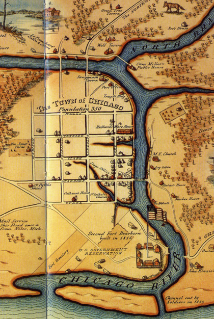 Chicago map 1835 (up is west, right is north)