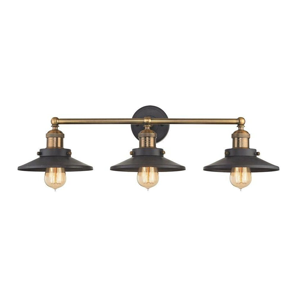 English Pub 3 Light Tarnished Graphite And Antique Brass Vanity From Antique Bathroom Brass Vanity Light Brass Bathroom Lighting Brass Bathroom Light Fixtures