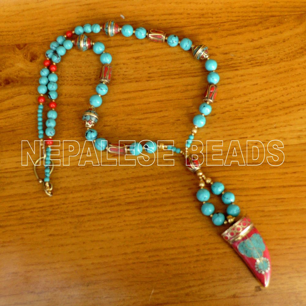 Diya08 nepalese tibetan turquoise coral brass do it yourself nepalese tibetan turquoise coral brass do yourself necklace diy kit solutioingenieria Images