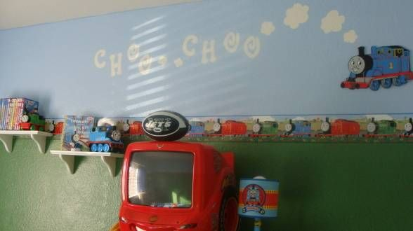 Thomas And Friends Room Decor Ideas Green On Bottom Blue Sky Top