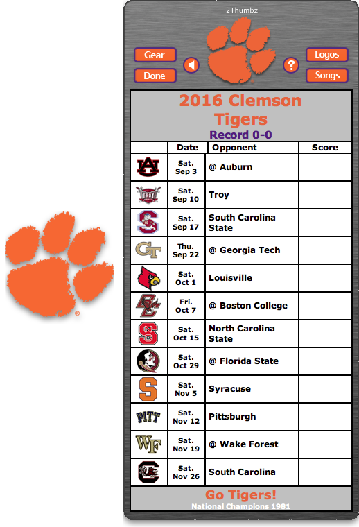Get your 2016 Clemson Tigers Football Schedule App for Mac