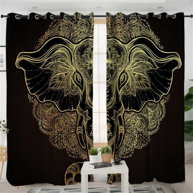 Tribal Elephant Living Room Curtain Mandala