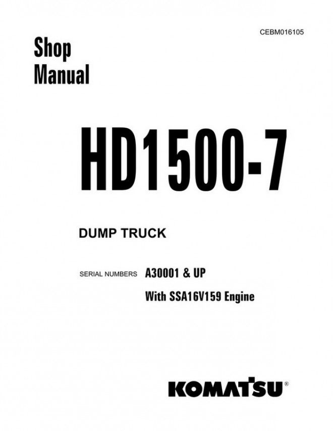 Komatsu HD1500-7 Dump Truck (A30001 and up) Shop Manual