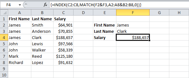 Two-column Lookup in Excel | Excel, Column, Getting things done