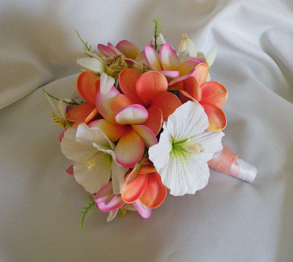 Frangipani Plumeria Orchid And Hibiscus Bouquet Destination Beach Wedding By Abloomortwo On Etsy Mas