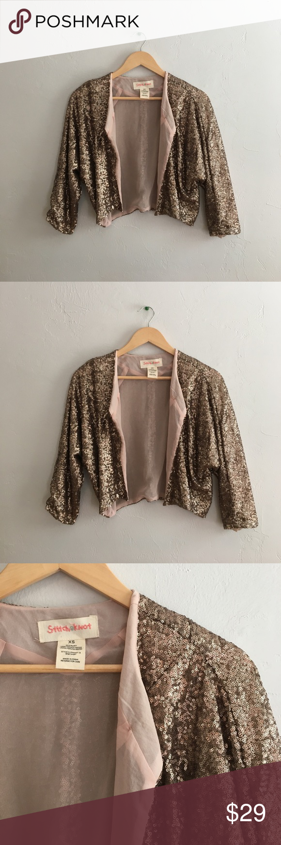 Gold Sequin Shrug Sz XS