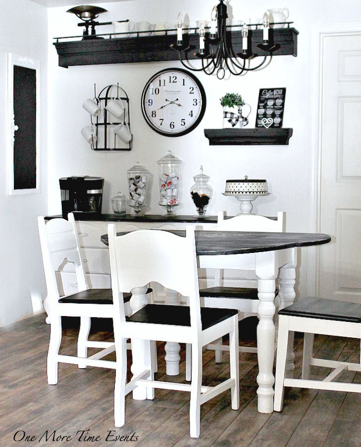 Farmhouse Kitchen Black And White Refinished Table Coffee Station