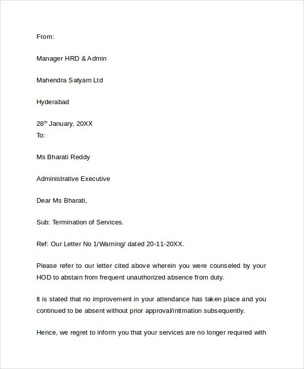 Termination Letter Due Lack Work Cover Templates Samples Examples